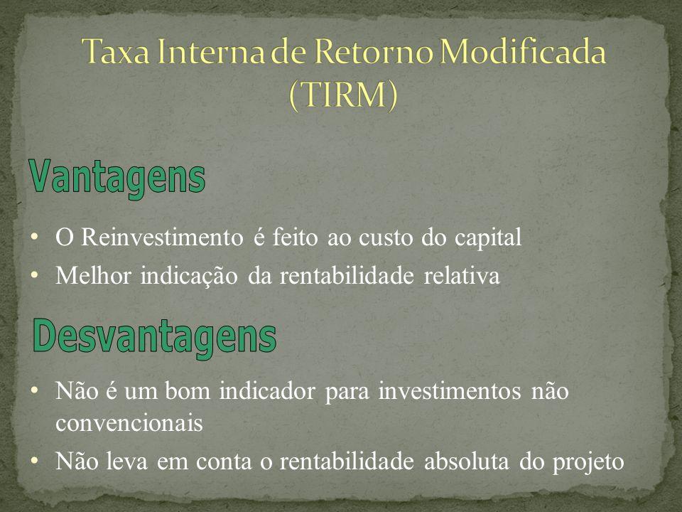 Se TIRM > 0 – Investimento Satisfatório Se TIRM < 0 – Investimento Insatisfatório Se TIRM = 0 – Economicamente Indiferente Se TIRM > k – Investimento Satisfatório Se TIRM < k – Investimento Insatisfatório Se TIRM = k – Economicamente Indiferente k – Custo de Capital