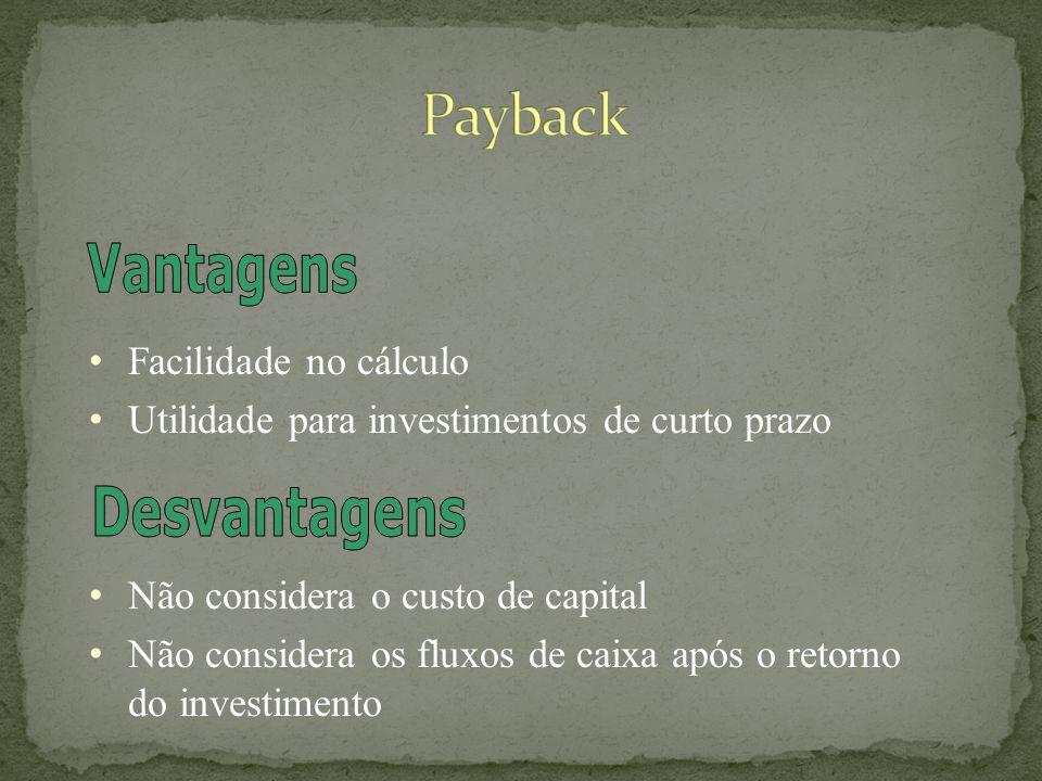 Facilidade no cálculo Utilidade para investimentos de curto prazo Não considera o custo de capital Não considera os fluxos de caixa após o retorno do investimento