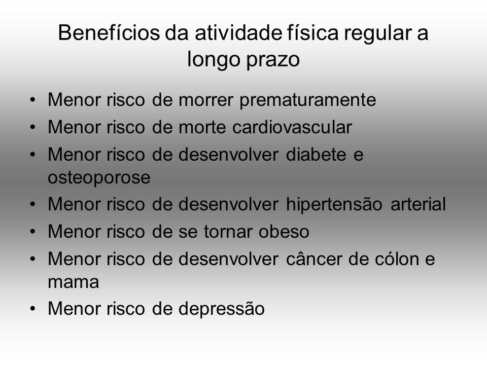 Benefícios da atividade física regular a longo prazo Menor risco de morrer prematuramente Menor risco de morte cardiovascular Menor risco de desenvolver diabete e osteoporose Menor risco de desenvolver hipertensão arterial Menor risco de se tornar obeso Menor risco de desenvolver câncer de cólon e mama Menor risco de depressão
