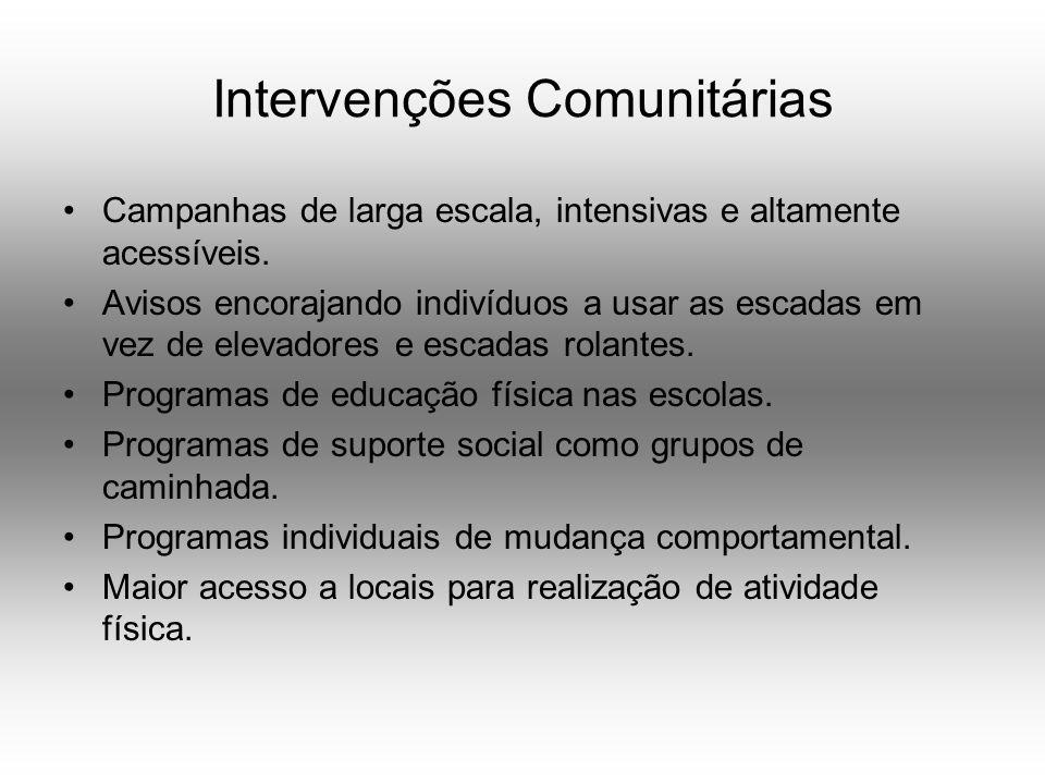 Intervenções Comunitárias Campanhas de larga escala, intensivas e altamente acessíveis.