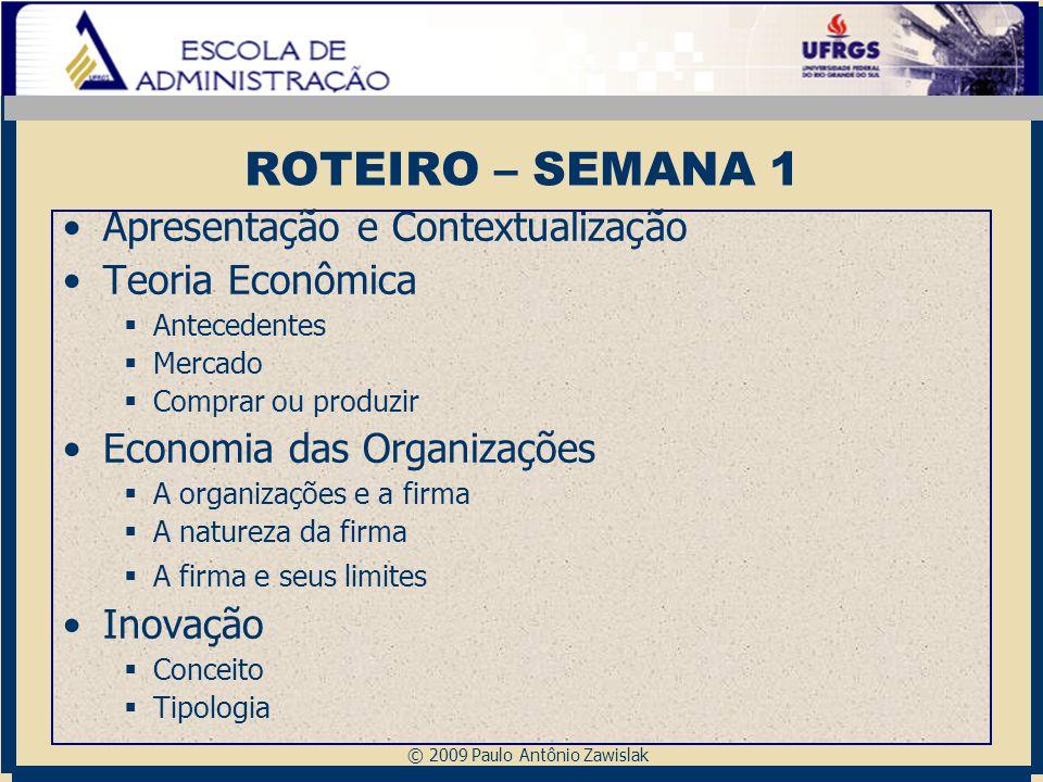 © 2009 Paulo Antônio Zawislak ROTEIRO – SEMANA 1 Apresentação e Contextualização Teoria Econômica  Antecedentes  Mercado  Comprar ou produzir Econo