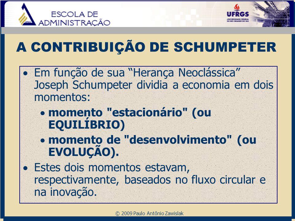 """© 2009 Paulo Antônio Zawislak A CONTRIBUIÇÃO DE SCHUMPETER  Em função de sua """"Herança Neoclássica"""" Joseph Schumpeter dividia a economia em dois momen"""