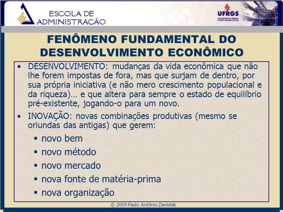© 2009 Paulo Antônio Zawislak FENÔMENO FUNDAMENTAL DO DESENVOLVIMENTO ECONÔMICO DESENVOLVIMENTO: mudanças da vida econômica que não lhe forem impostas