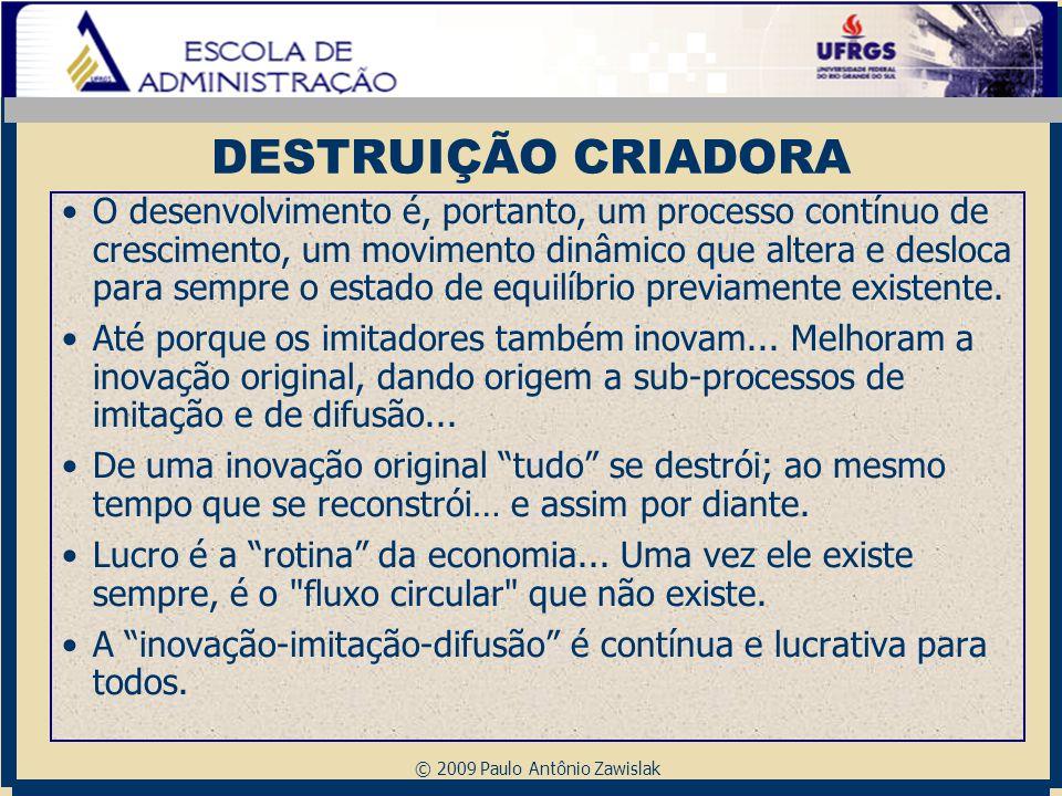 © 2009 Paulo Antônio Zawislak DESTRUIÇÃO CRIADORA O desenvolvimento é, portanto, um processo contínuo de crescimento, um movimento dinâmico que altera