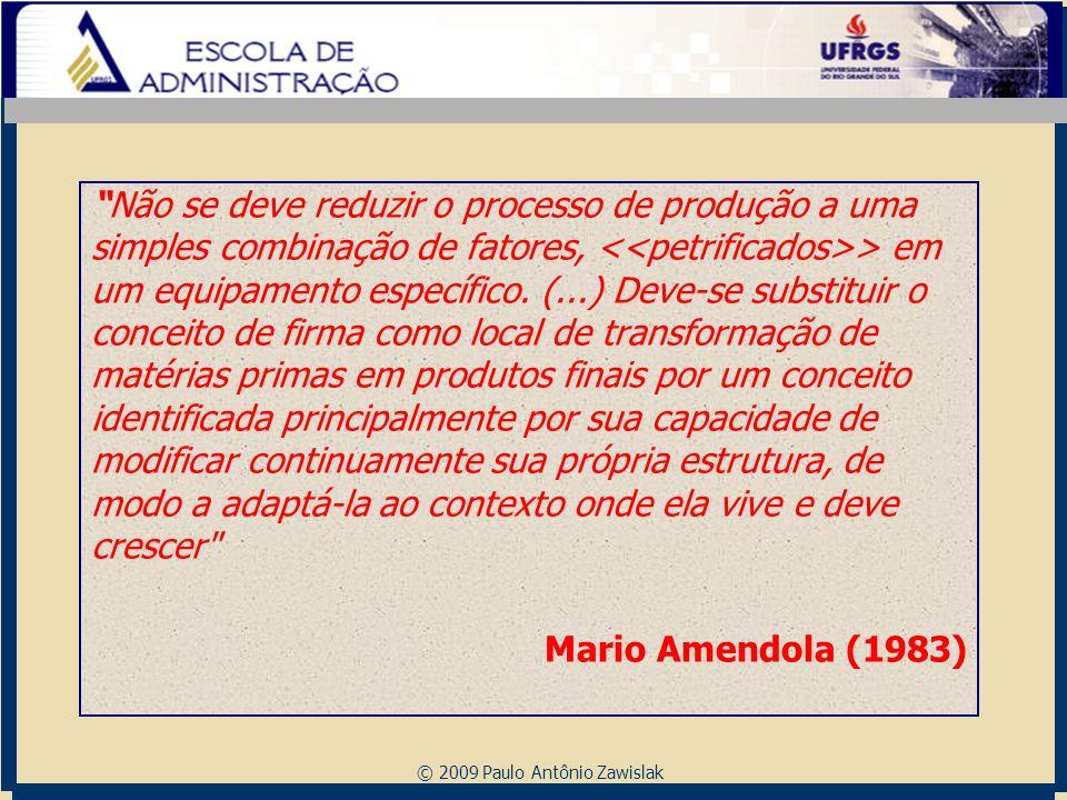 """© 2009 Paulo Antônio Zawislak """"Não se deve reduzir o processo de produção a uma simples combinação de fatores, > em um equipamento específico. (...) D"""