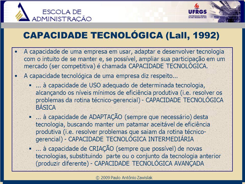 © 2009 Paulo Antônio Zawislak CAPACIDADE TECNOLÓGICA (Lall, 1992) A capacidade de uma empresa em usar, adaptar e desenvolver tecnologia com o intuito