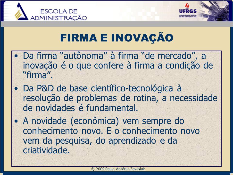"""© 2009 Paulo Antônio Zawislak FIRMA E INOVAÇÃO Da firma """"autônoma"""" à firma """"de mercado"""", a inovação é o que confere à firma a condição de """"firma"""". Da"""