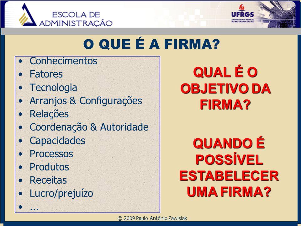 © 2009 Paulo Antônio Zawislak O QUE É A FIRMA? Conhecimentos Fatores Tecnologia Arranjos & Configurações Relações Coordenação & Autoridade Capacidades