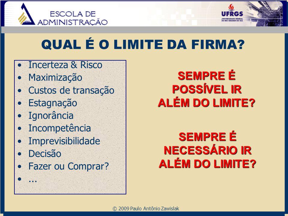 © 2009 Paulo Antônio Zawislak QUAL É O LIMITE DA FIRMA? Incerteza & Risco Maximização Custos de transação Estagnação Ignorância Incompetência Imprevis