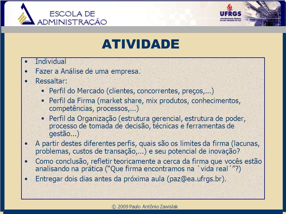 © 2009 Paulo Antônio Zawislak ATIVIDADE Individual Fazer a Análise de uma empresa. Ressaltar:  Perfil do Mercado (clientes, concorrentes, preços,...)