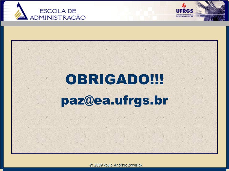 © 2009 Paulo Antônio Zawislak OBRIGADO!!! paz@ea.ufrgs.br
