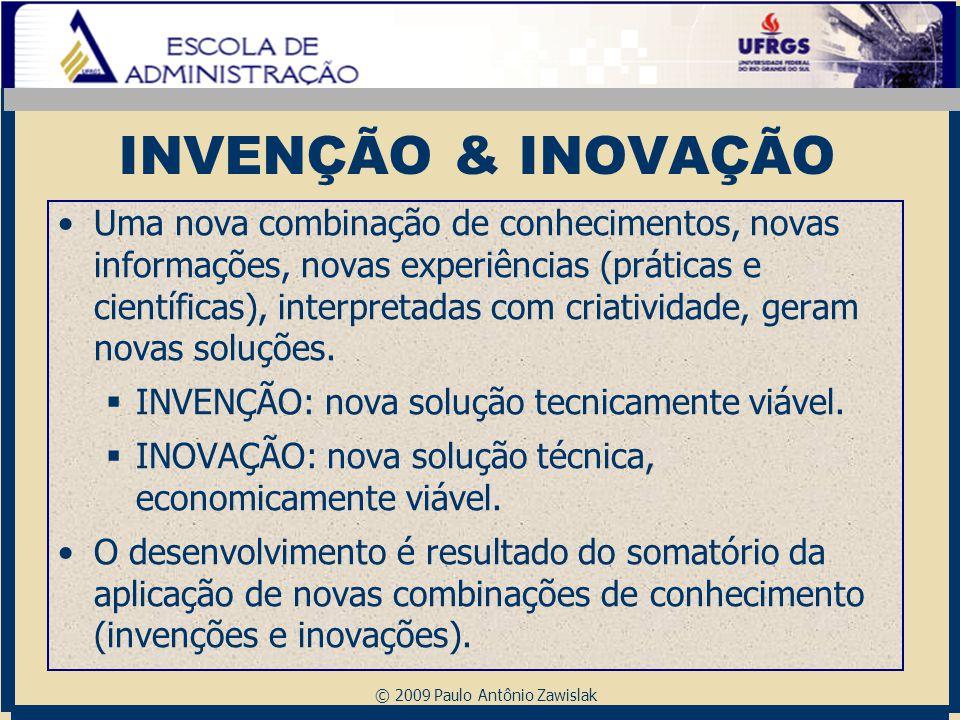 © 2009 Paulo Antônio Zawislak INVENÇÃO & INOVAÇÃO Uma nova combinação de conhecimentos, novas informações, novas experiências (práticas e científicas)