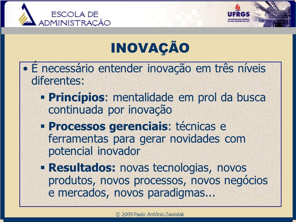 © 2009 Paulo Antônio Zawislak INOVAÇÃO É necessário entender inovação em três níveis diferentes:  Princípios: mentalidade em prol da busca continuada