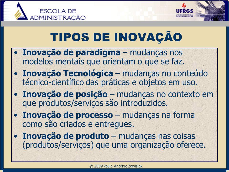© 2009 Paulo Antônio Zawislak TIPOS DE INOVAÇÃO Inovação de paradigma – mudanças nos modelos mentais que orientam o que se faz. Inovação Tecnológica –