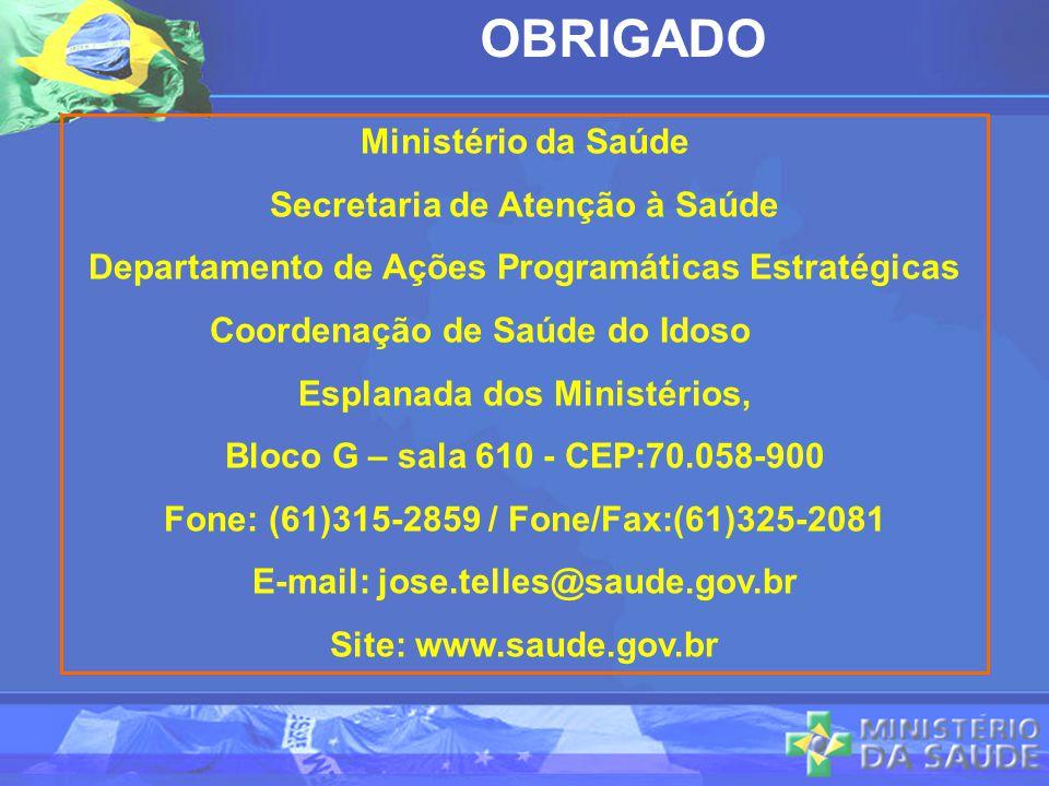 Ministério da Saúde Secretaria de Atenção à Saúde Departamento de Ações Programáticas Estratégicas Coordenação de Saúde do Idoso Esplanada dos Ministé