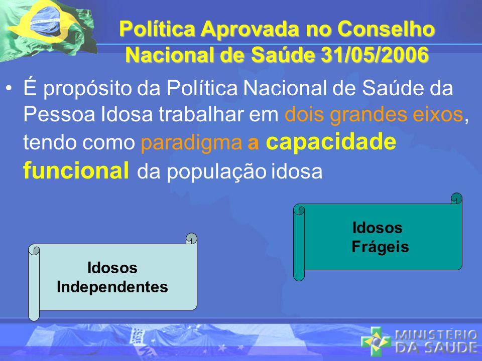 Política Aprovada no Conselho Nacional de Saúde 31/05/2006 É propósito da Política Nacional de Saúde da Pessoa Idosa trabalhar em dois grandes eixos,