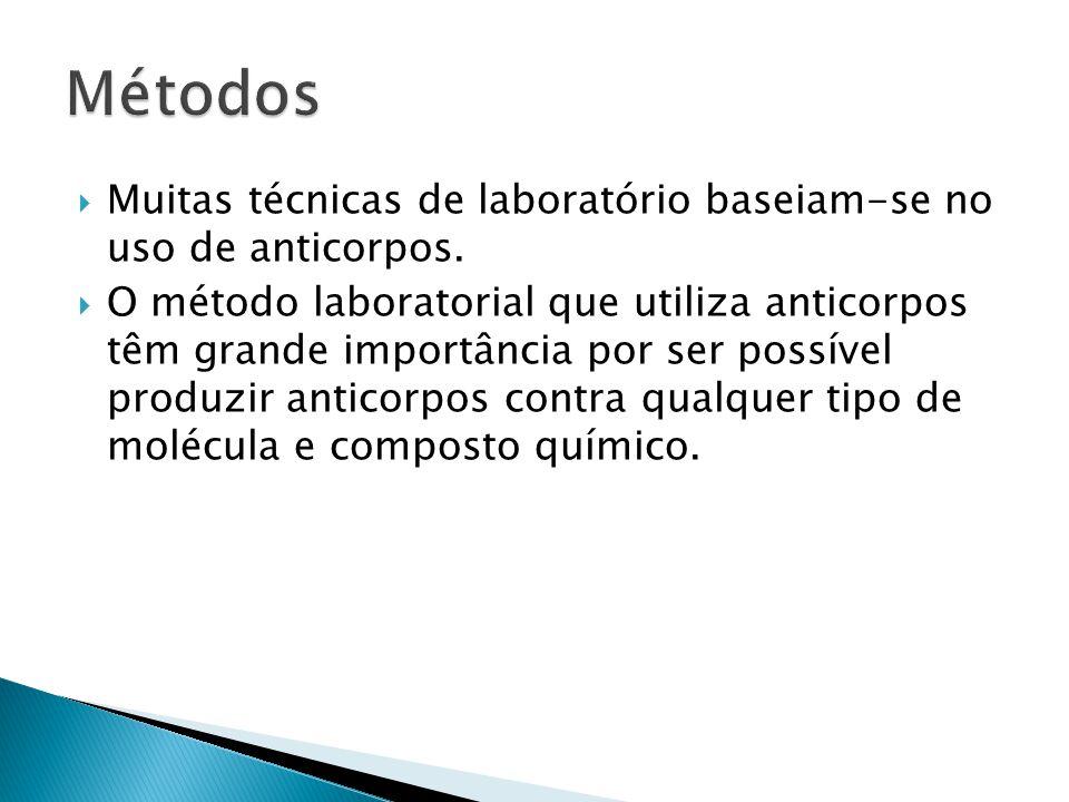  Muitas técnicas de laboratório baseiam-se no uso de anticorpos.  O método laboratorial que utiliza anticorpos têm grande importância por ser possív