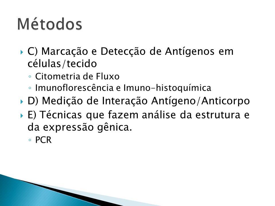  C) Marcação e Detecção de Antígenos em células/tecido ◦ Citometria de Fluxo ◦ Imunoflorescência e Imuno-histoquímica  D) Medição de Interação Antíg
