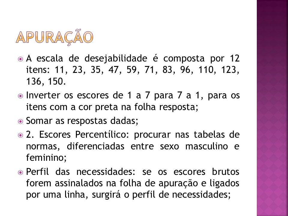  A escala de desejabilidade é composta por 12 itens: 11, 23, 35, 47, 59, 71, 83, 96, 110, 123, 136, 150.  Inverter os escores de 1 a 7 para 7 a 1, p