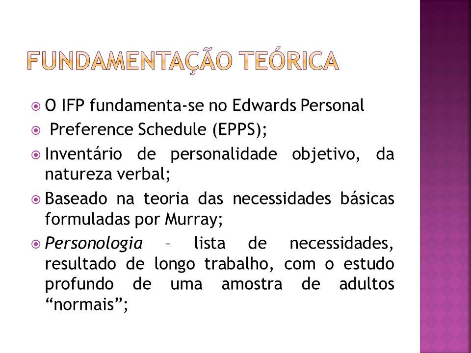  O IFP fundamenta-se no Edwards Personal  Preference Schedule (EPPS);  Inventário de personalidade objetivo, da natureza verbal;  Baseado na teori