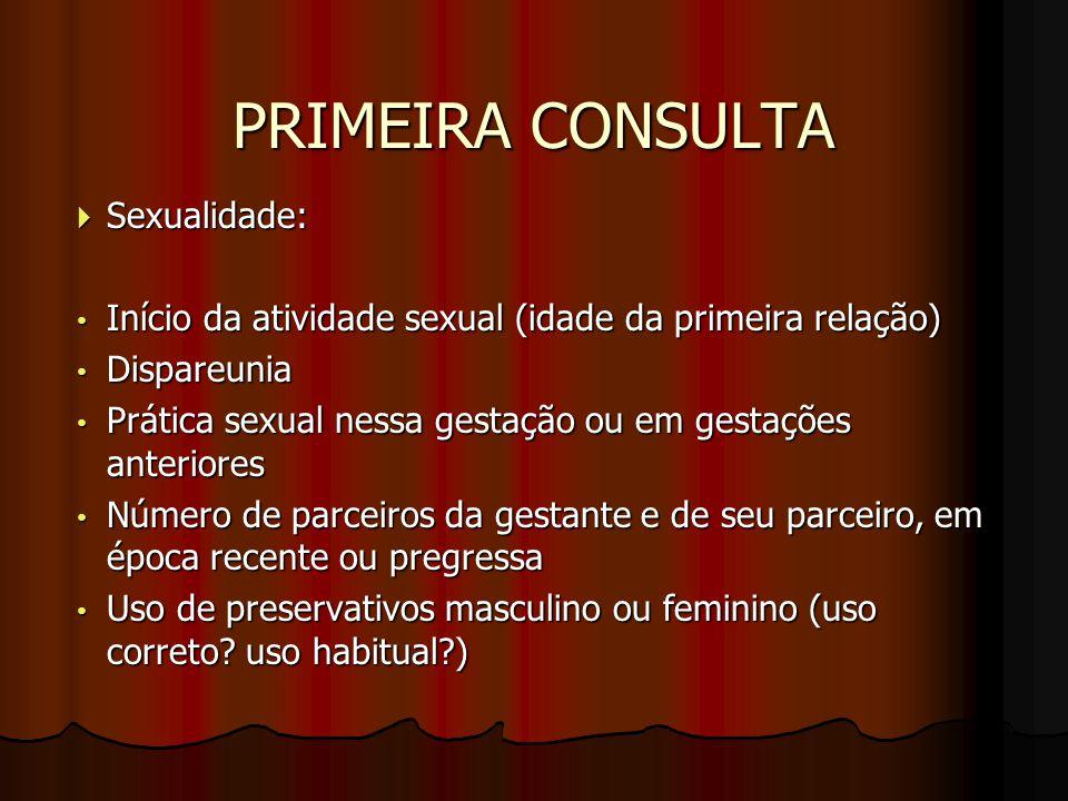 PRIMEIRA CONSULTA  Sexualidade: Início da atividade sexual (idade da primeira relação) Início da atividade sexual (idade da primeira relação) Dispare