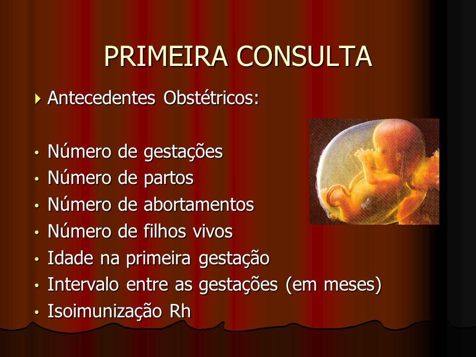 PRIMEIRA CONSULTA  Antecedentes Obstétricos: Número de gestações Número de gestações Número de partos Número de partos Número de abortamentos Número