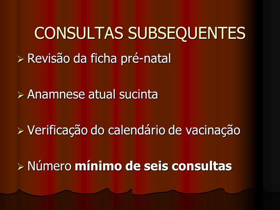 CONSULTAS SUBSEQUENTES  Revisão da ficha pré-natal  Anamnese atual sucinta  Verificação do calendário de vacinação  Número mínimo de seis consulta