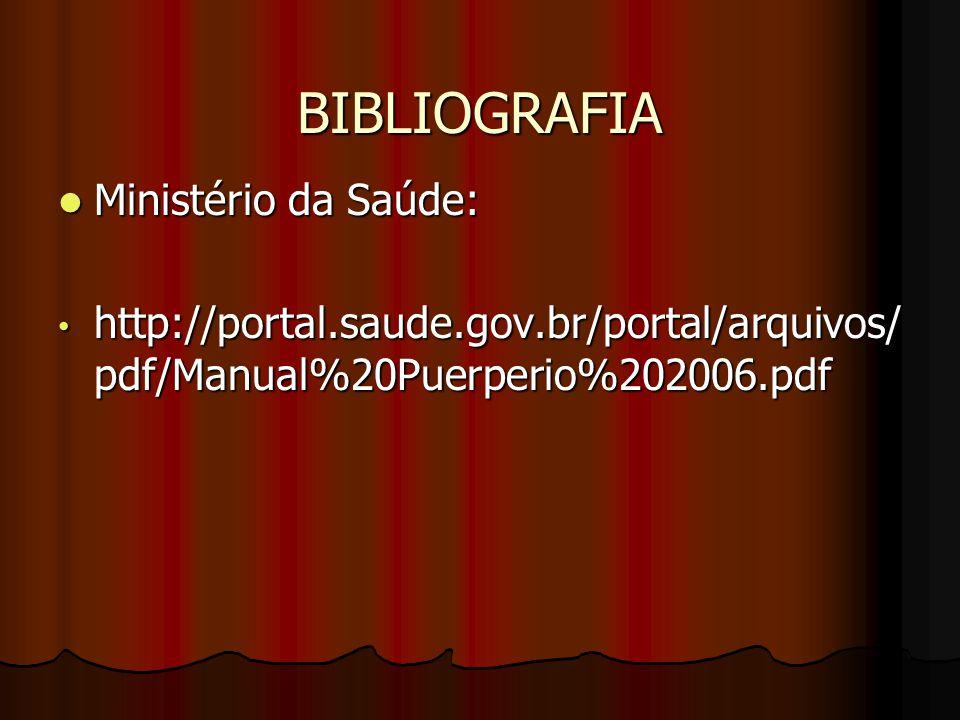 BIBLIOGRAFIA Ministério da Saúde: Ministério da Saúde: http://portal.saude.gov.br/portal/arquivos/ pdf/Manual%20Puerperio%202006.pdf http://portal.sau