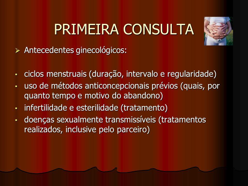 PRIMEIRA CONSULTA  Antecedentes ginecológicos: ciclos menstruais (duração, intervalo e regularidade) ciclos menstruais (duração, intervalo e regulari