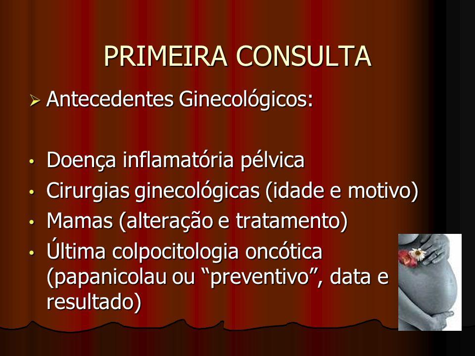 PRIMEIRA CONSULTA  Antecedentes Ginecológicos: Doença inflamatória pélvica Doença inflamatória pélvica Cirurgias ginecológicas (idade e motivo) Cirur