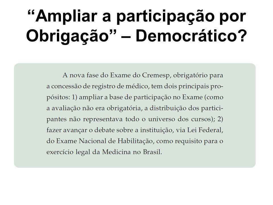 """""""Ampliar a participação por Obrigação"""" – Democrático?"""