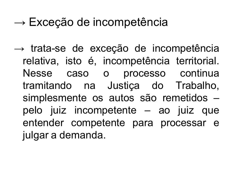 → Exceção de incompetência → trata-se de exceção de incompetência relativa, isto é, incompetência territorial. Nesse caso o processo continua tramitan