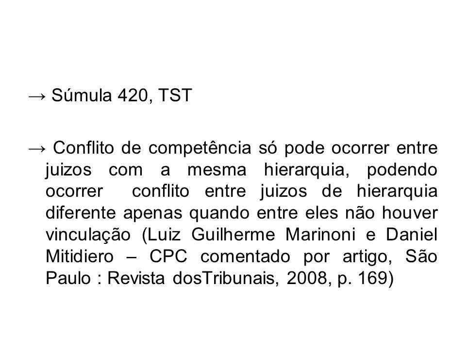 → Súmula 420, TST → Conflito de competência só pode ocorrer entre juizos com a mesma hierarquia, podendo ocorrer conflito entre juizos de hierarquia d