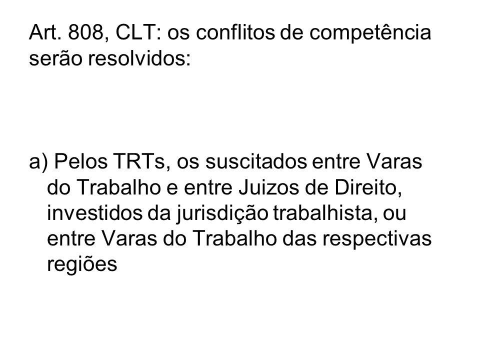 Art. 808, CLT: os conflitos de competência serão resolvidos: a) Pelos TRTs, os suscitados entre Varas do Trabalho e entre Juizos de Direito, investido