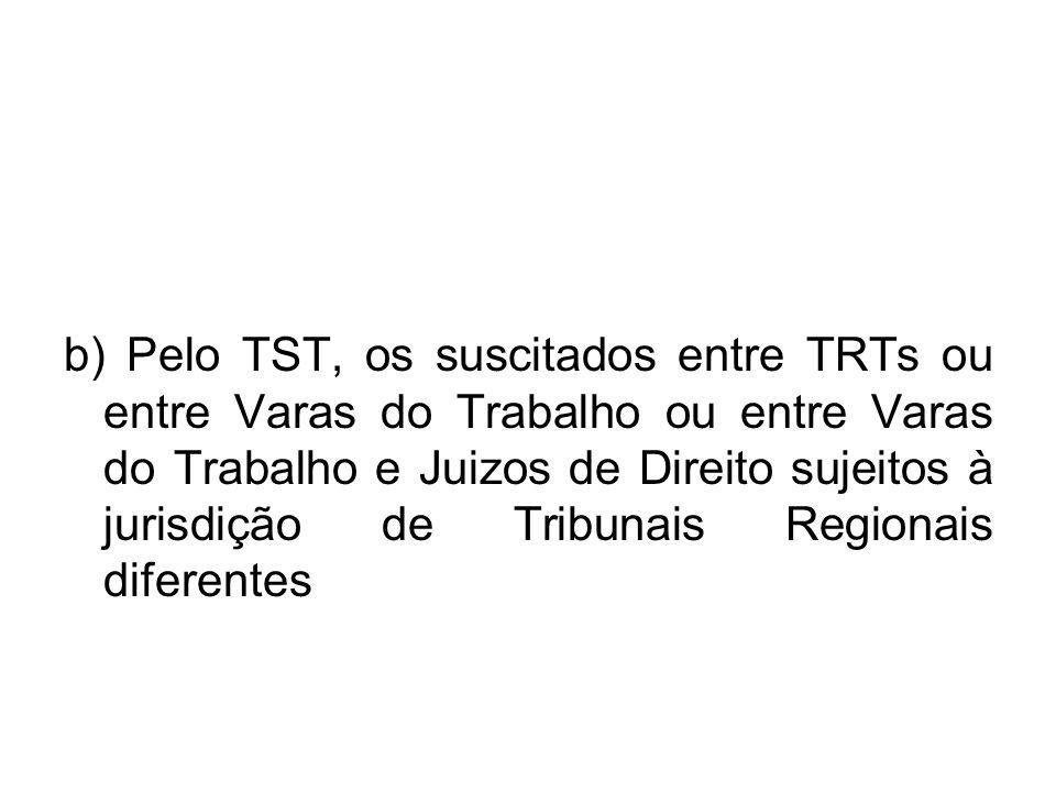 b) Pelo TST, os suscitados entre TRTs ou entre Varas do Trabalho ou entre Varas do Trabalho e Juizos de Direito sujeitos à jurisdição de Tribunais Reg
