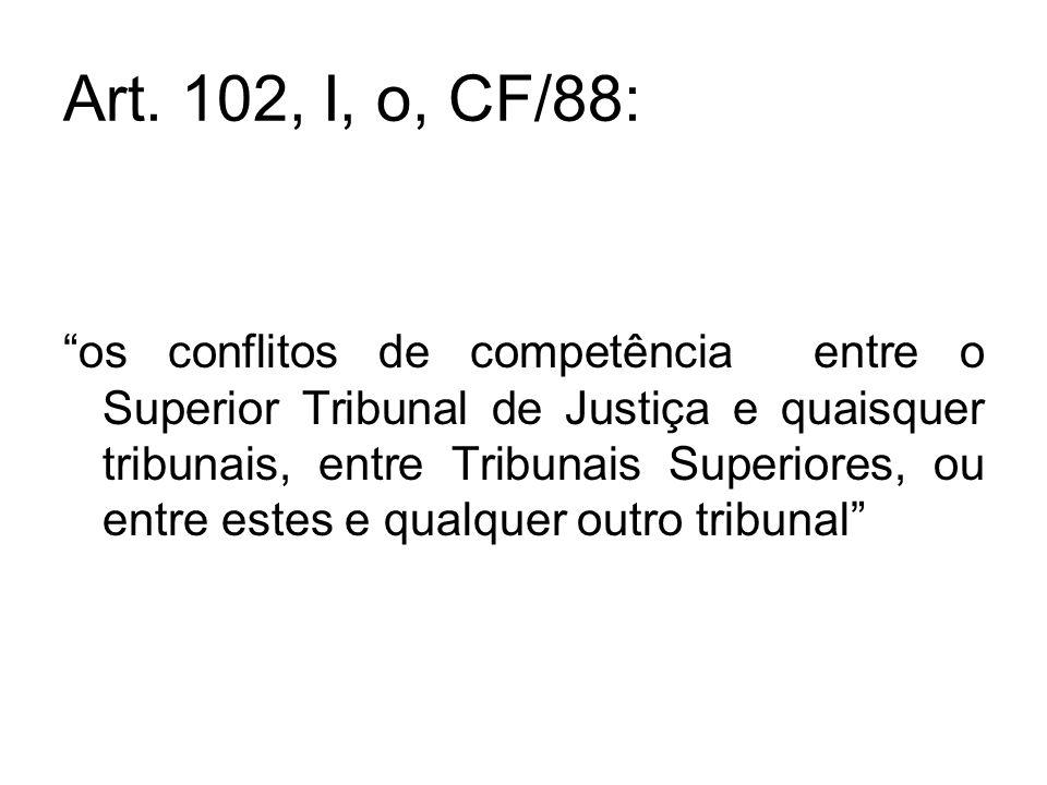 """Art. 102, I, o, CF/88: """"os conflitos de competência entre o Superior Tribunal de Justiça e quaisquer tribunais, entre Tribunais Superiores, ou entre e"""