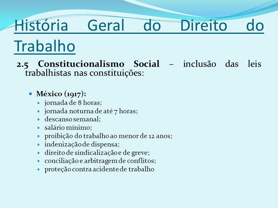História Geral do Direito do Trabalho 2.5 Constitucionalismo Social – inclusão das leis trabalhistas nas constituições: México (1917): jornada de 8 ho