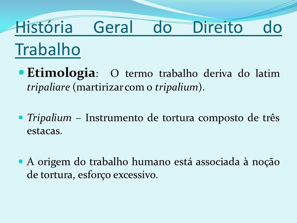 História Geral do Direito do Trabalho Etimologia : O termo trabalho deriva do latim tripaliare (martirizar com o tripalium). Tripalium – Instrumento d