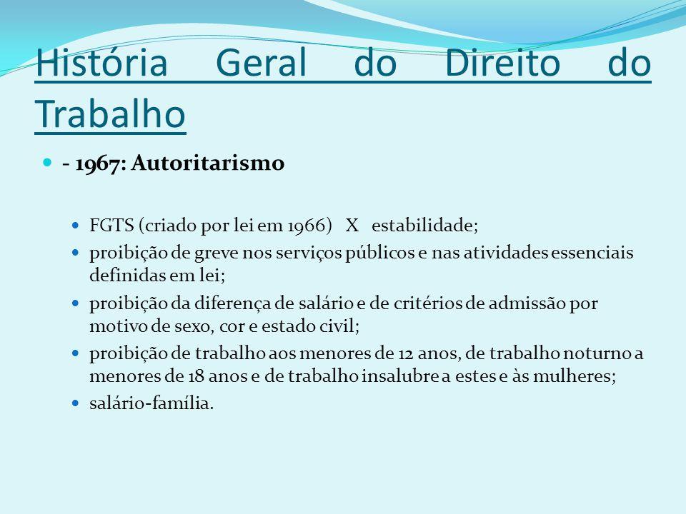 História Geral do Direito do Trabalho - 1967: Autoritarismo FGTS (criado por lei em 1966) X estabilidade; proibição de greve nos serviços públicos e n
