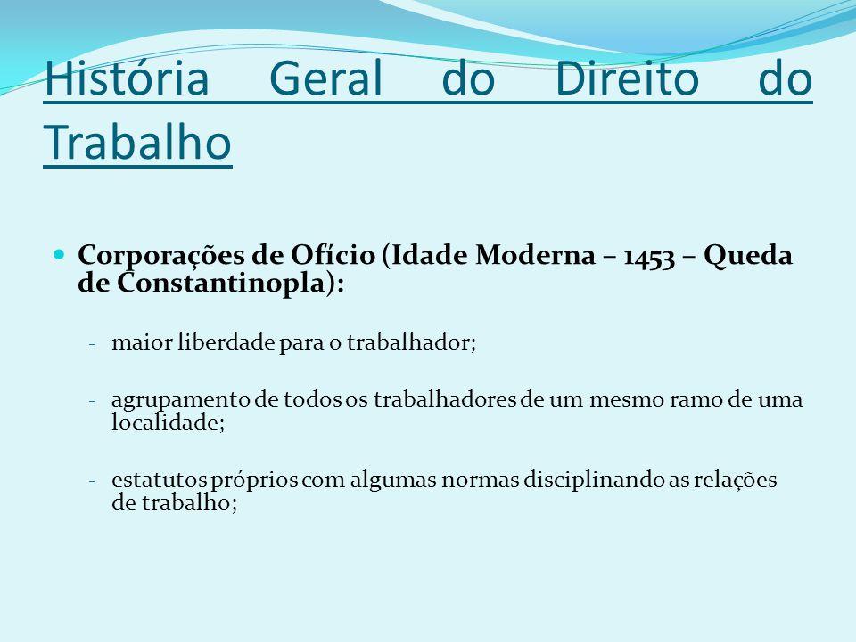 História Geral do Direito do Trabalho Corporações de Ofício (Idade Moderna – 1453 – Queda de Constantinopla): - maior liberdade para o trabalhador; -