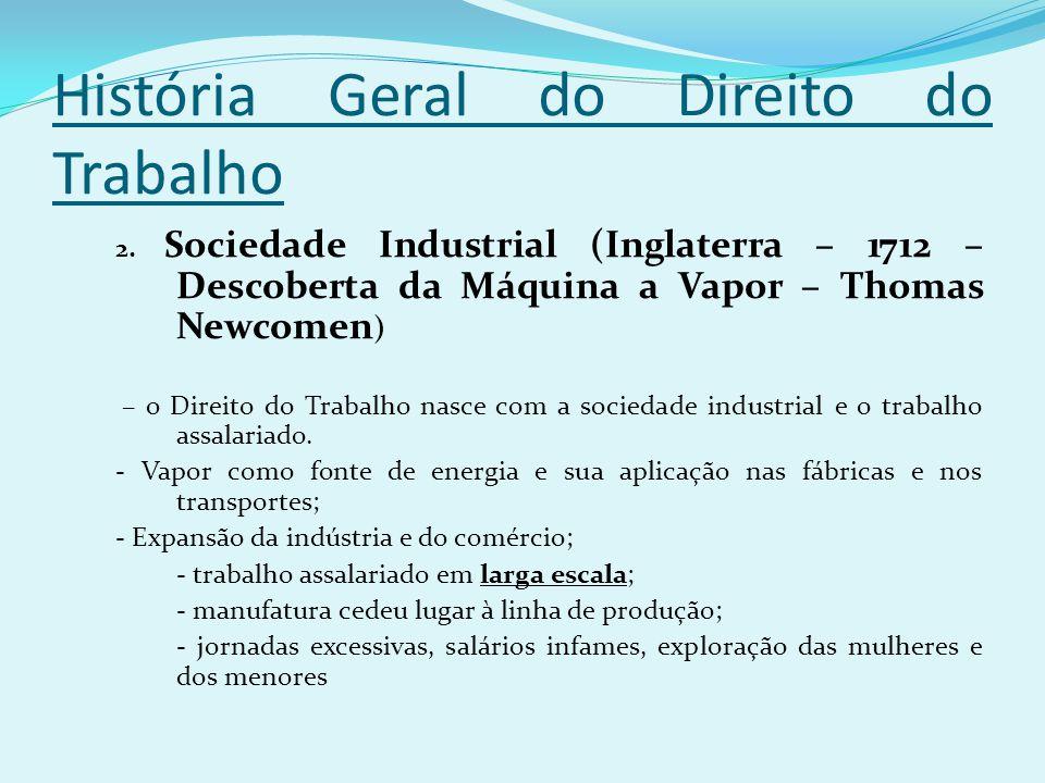 História Geral do Direito do Trabalho 2. Sociedade Industrial (Inglaterra – 1712 – Descoberta da Máquina a Vapor – Thomas Newcomen ) – o Direito do Tr