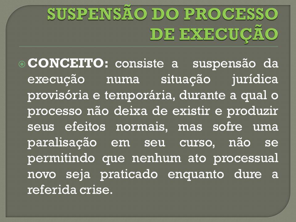 CONCEITO: consiste a suspensão da execução numa situação jurídica provisória e temporária, durante a qual o processo não deixa de existir e produzir