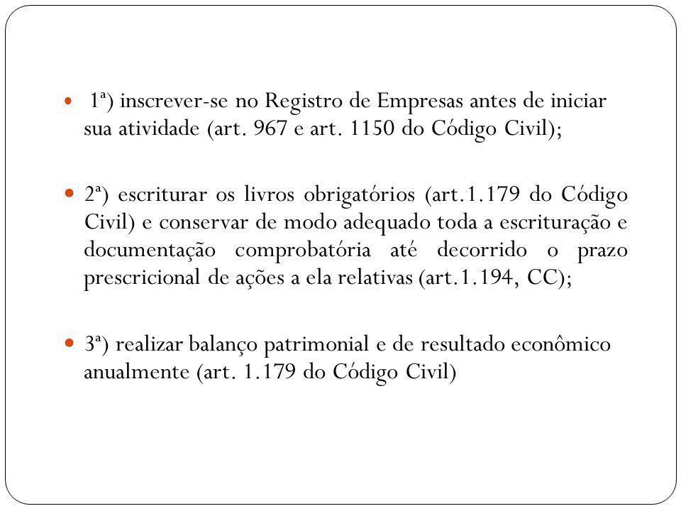REGISTRO DE EMPRESA Artigo 967 do Código Civil: É obrigatória a inscrição do empresário no Registro Público de Empresas Mercantis da respectiva sede, antes do início de sua atividade .