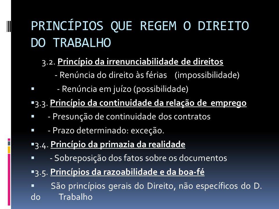 PRINCÍPIOS QUE REGEM O DIREITO DO TRABALHO 3.2. Princípio da irrenunciabilidade de direitos - Renúncia do direito às férias (impossibilidade)  - Renú