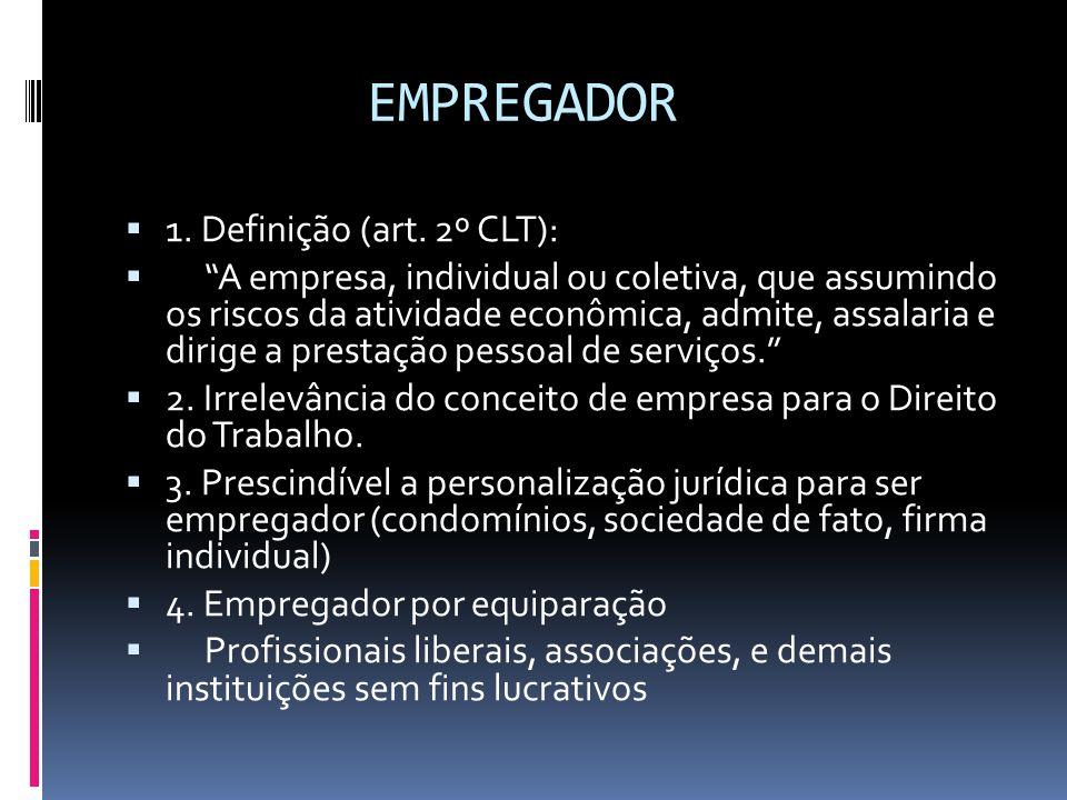 """EMPREGADOR  1. Definição (art. 2º CLT):  """"A empresa, individual ou coletiva, que assumindo os riscos da atividade econômica, admite, assalaria e dir"""