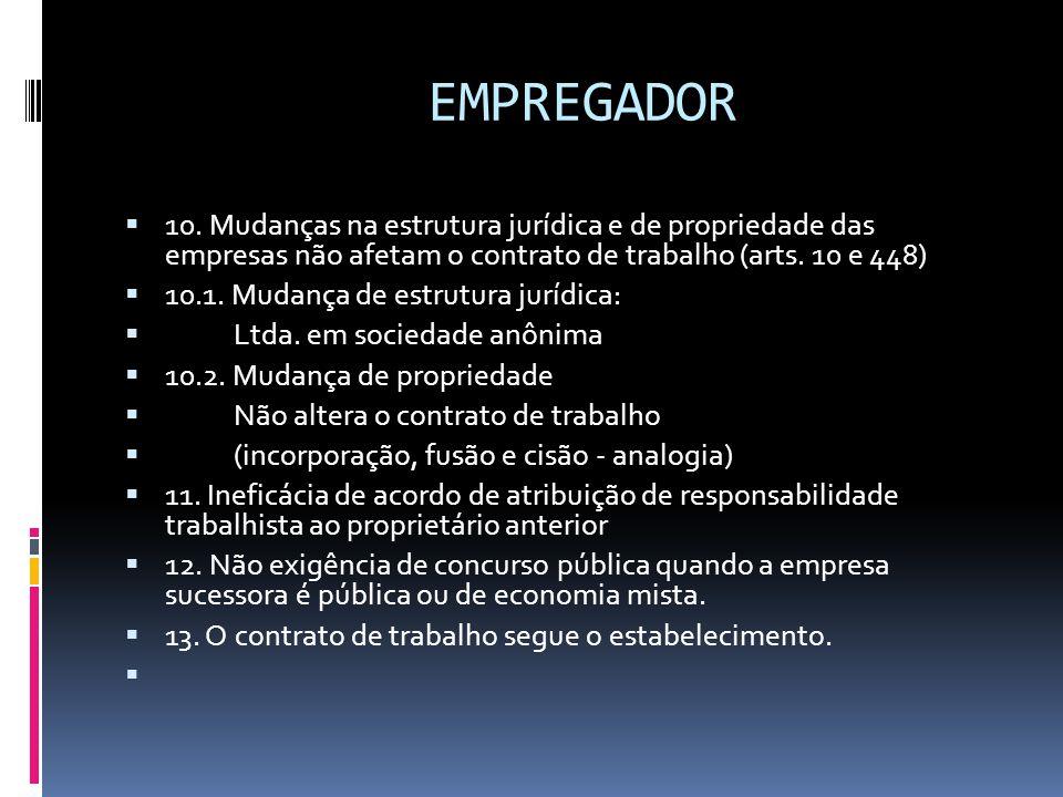 EMPREGADOR  10. Mudanças na estrutura jurídica e de propriedade das empresas não afetam o contrato de trabalho (arts. 10 e 448)  10.1. Mudança de es
