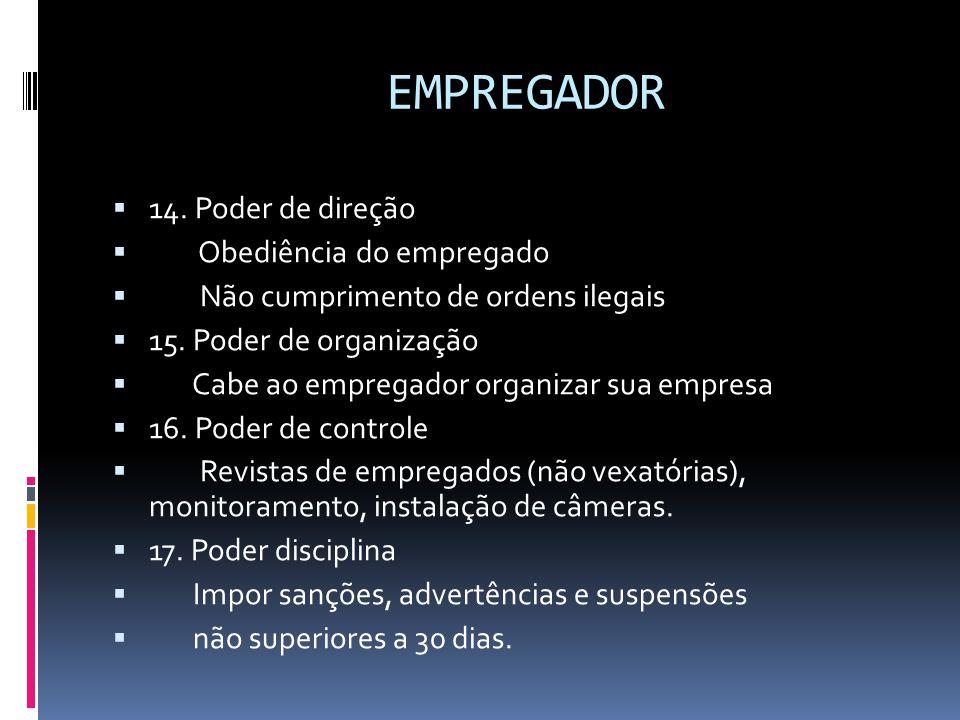 EMPREGADOR  14. Poder de direção  Obediência do empregado  Não cumprimento de ordens ilegais  15. Poder de organização  Cabe ao empregador organi
