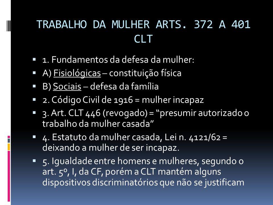 TRABALHO DA MULHER ARTS. 372 A 401 CLT  1. Fundamentos da defesa da mulher:  A) Fisiológicas – constituição física  B) Sociais – defesa da família