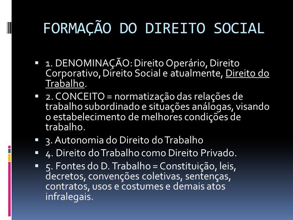 FORMAÇÃO DO DIREITO SOCIAL  1. DENOMINAÇÃO: Direito Operário, Direito Corporativo, Direito Social e atualmente, Direito do Trabalho.  2. CONCEITO =