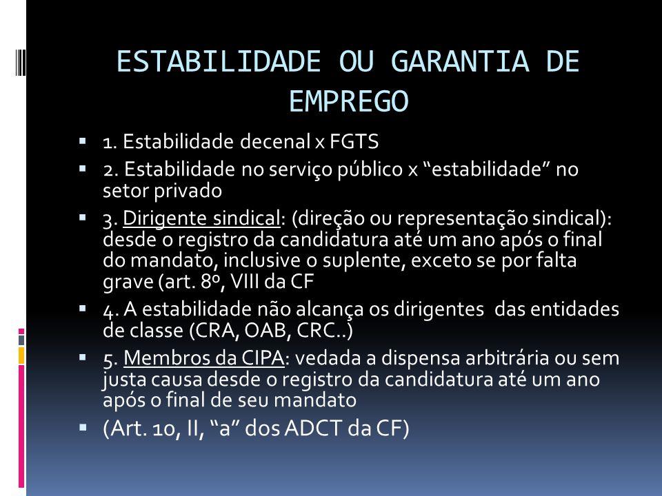 "ESTABILIDADE OU GARANTIA DE EMPREGO  1. Estabilidade decenal x FGTS  2. Estabilidade no serviço público x ""estabilidade"" no setor privado  3. Dirig"